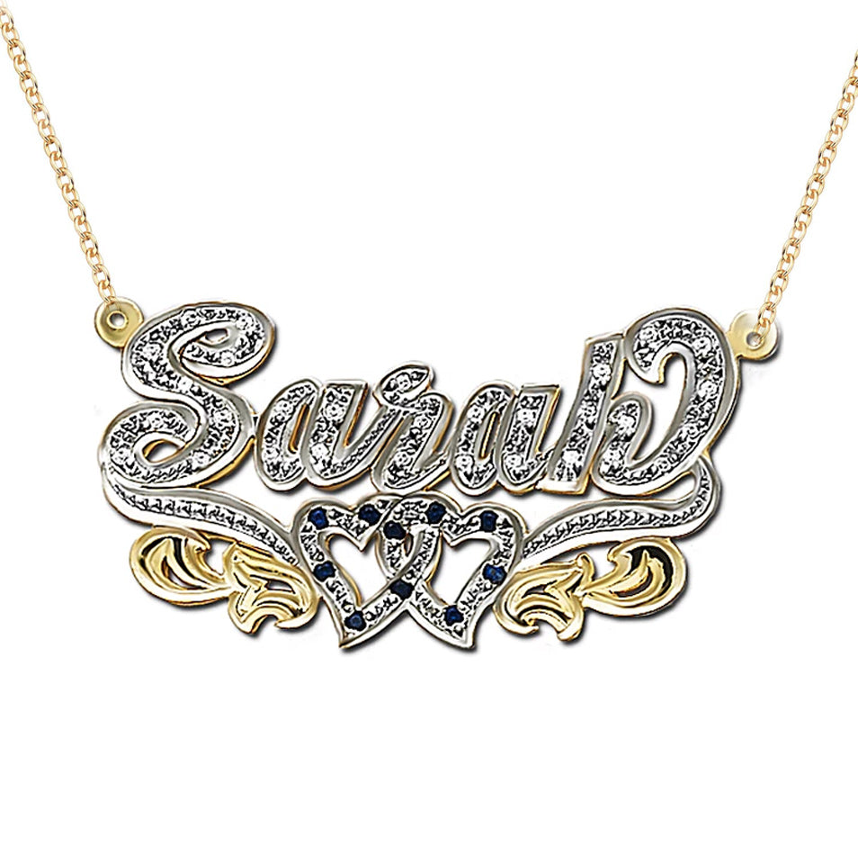 3D Double Plated CZ Nameplate Necklace - Two Hearts