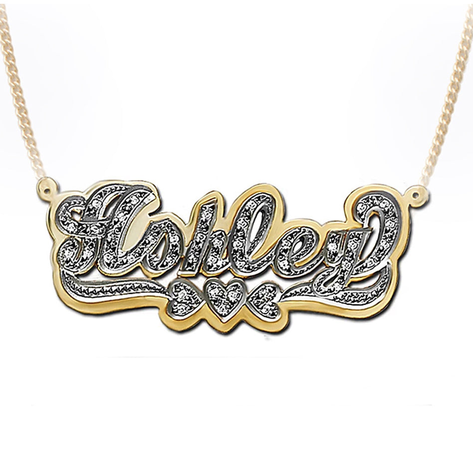 3D Double Plated CZ Name Necklace