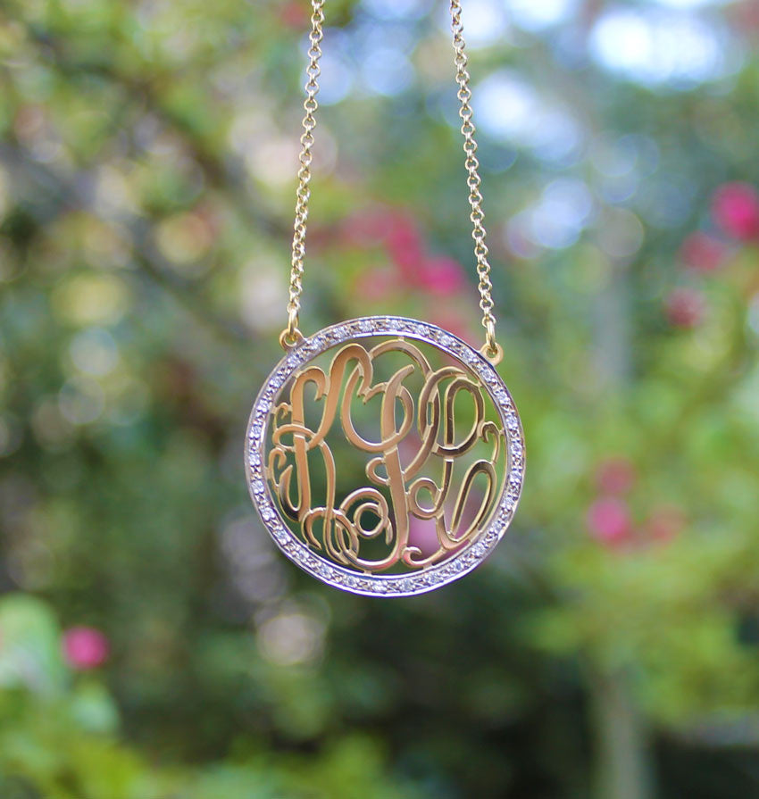 rimmed cz monogram necklace