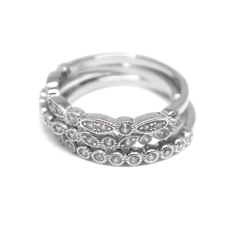 Sterling Silver CZ Ring Stack