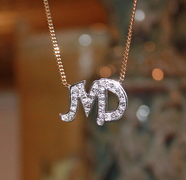 Cz Two Initial Necklace Be Monogrammed