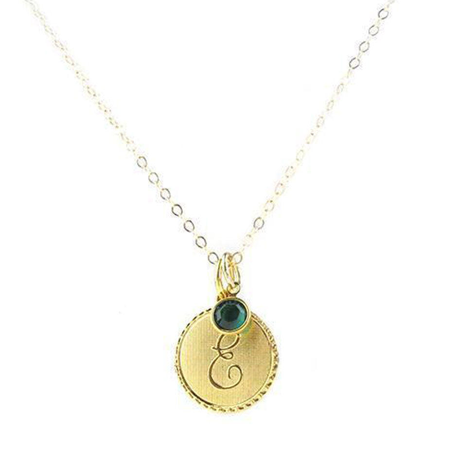 Vintage Initial Charm Necklace with Birthstone