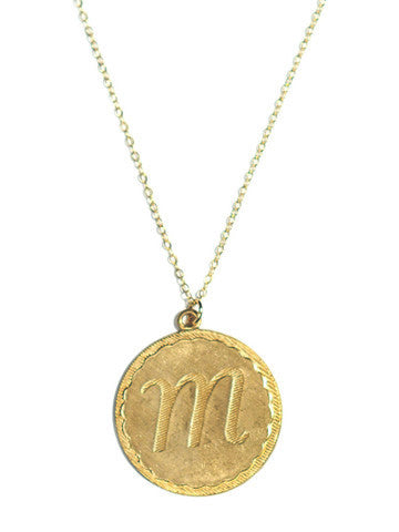 Vintage Initial Charm Necklace 1
