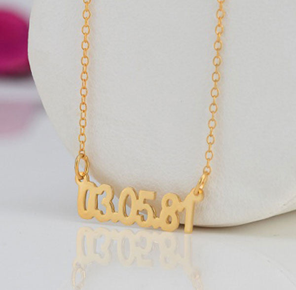 Gold Personalized Date Necklace