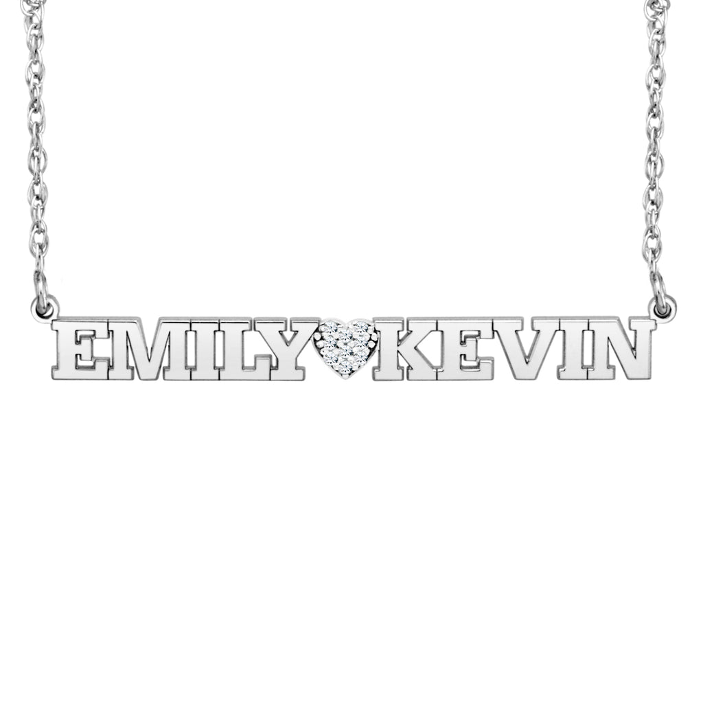 Diamond Heart Two Name Necklace 2
