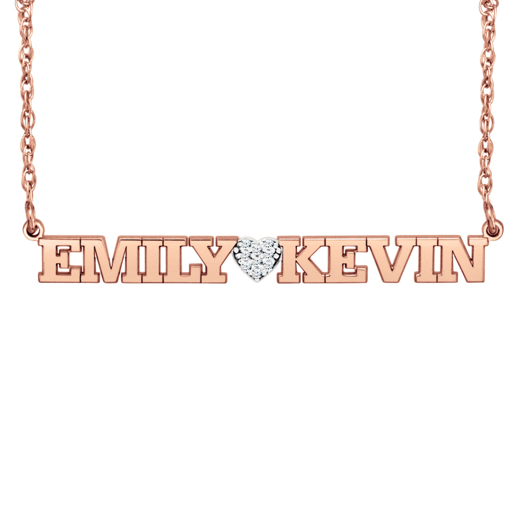 Diamond Heart Two Name Necklace 3