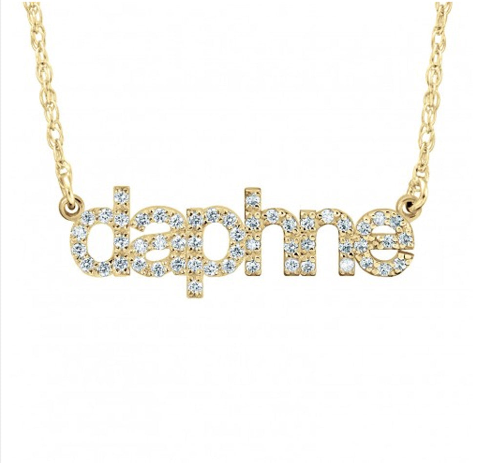 14K Solid Gold Lowercase Diamond Nameplate Necklace