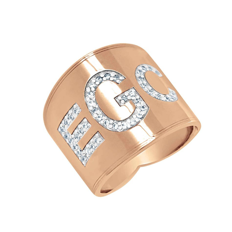 Diamond Rose Gold Monogram Ring