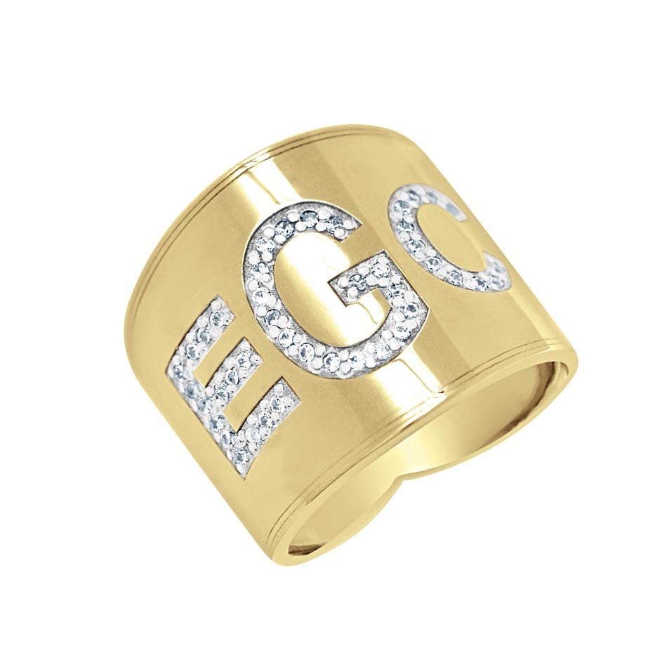 Diamond Gold Monogram Ring