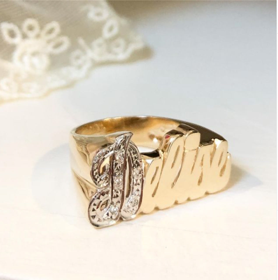 14K Gold Name Ring with Diamonds 6