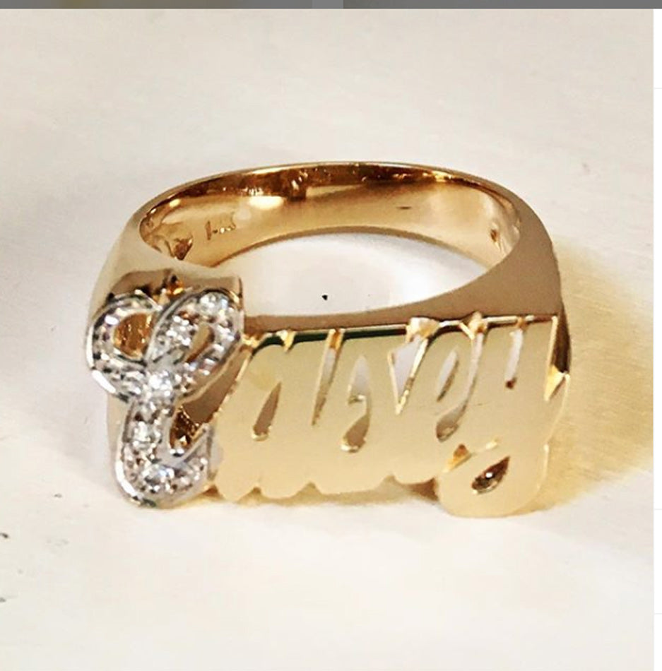 14K Gold Name Ring with Diamonds 2