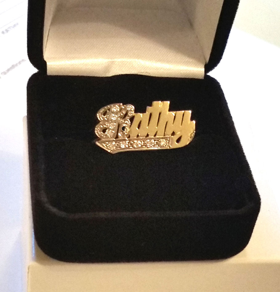 Gold Name Ring with Diamonds - 10mm 2