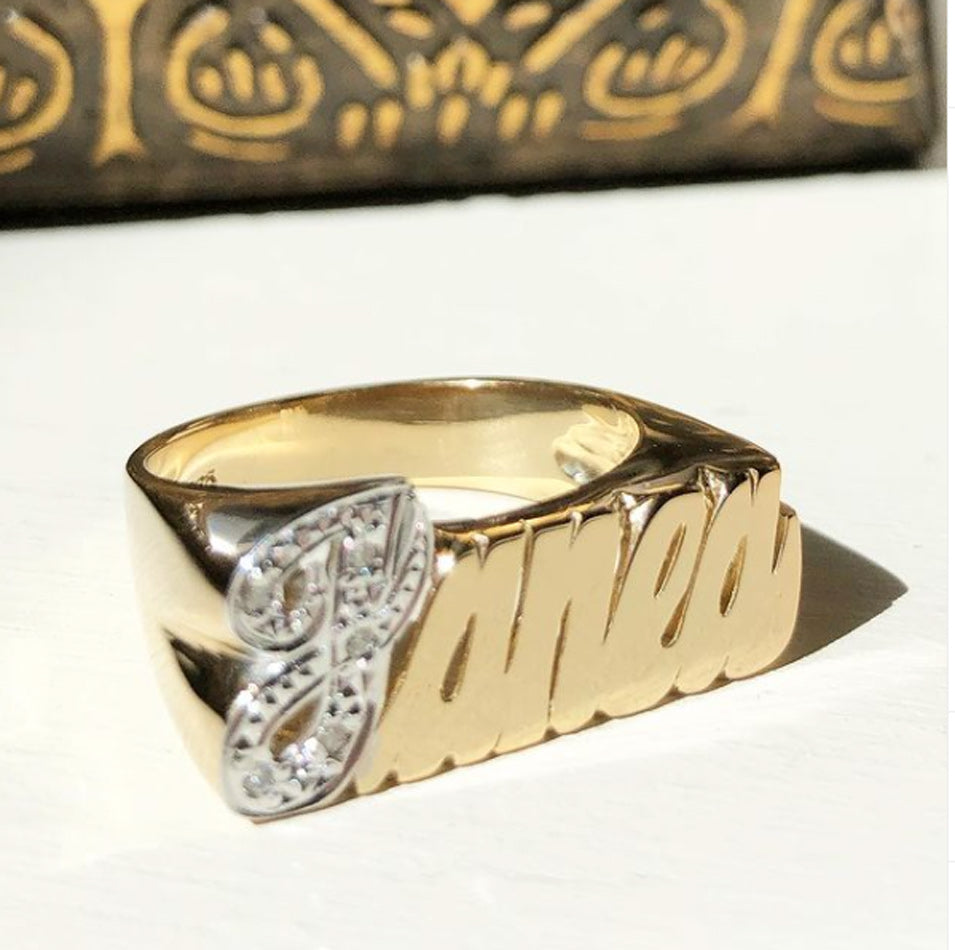 14K Gold Name Ring with Diamonds 7