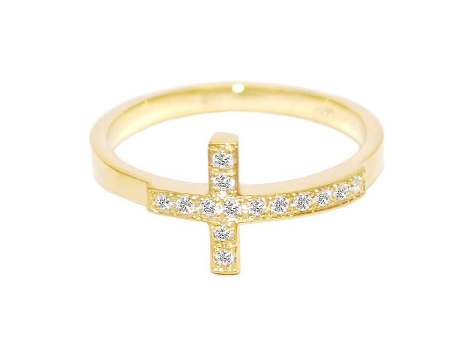 stackable diamond sideways cross ring