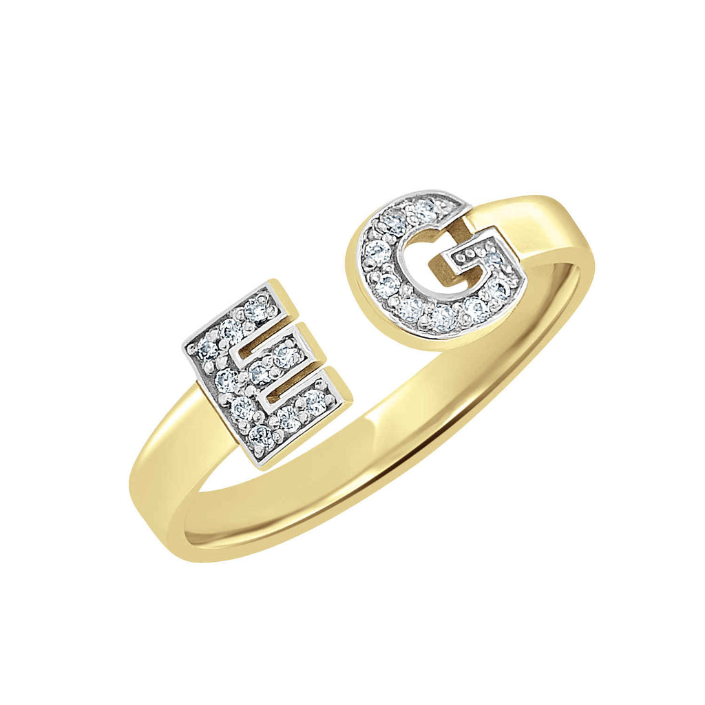 14K Gold Two Initial Diamond Ring