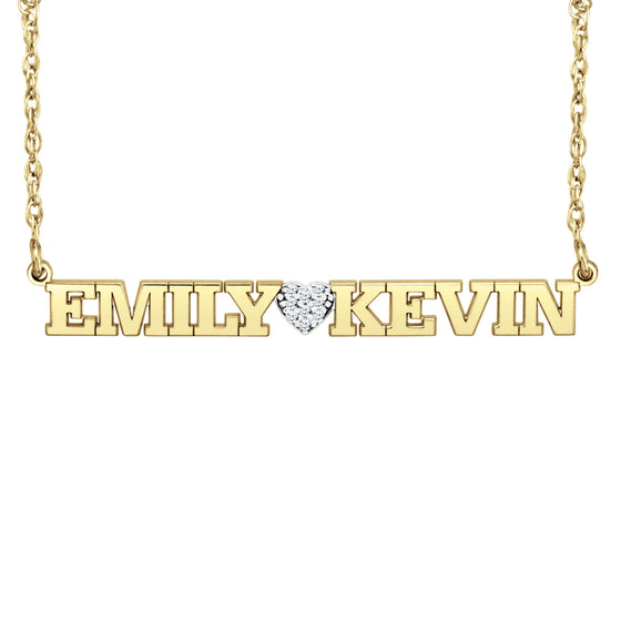 Diamond Heart Two Name Necklace