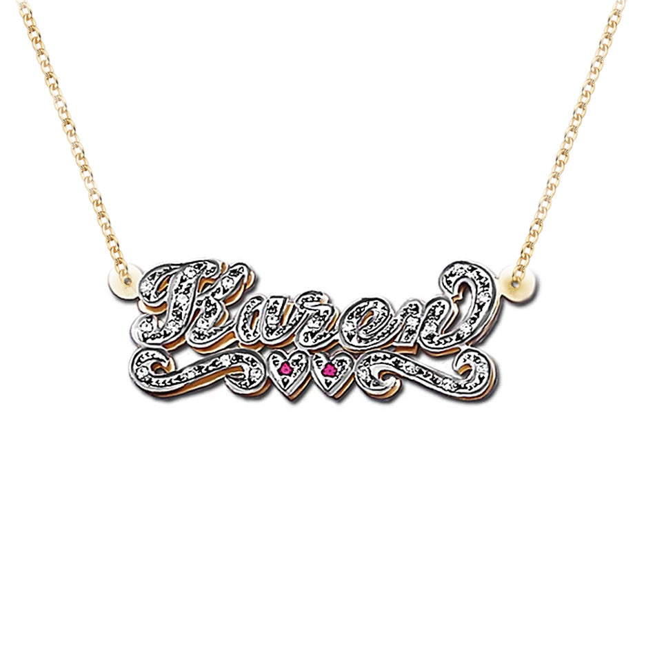 Small Gold 3D Double Plated CZ Nameplate Necklace