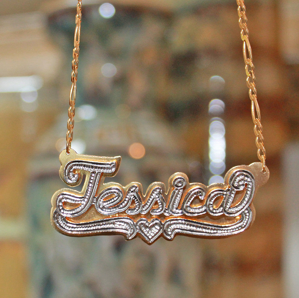 Double Plated Nameplate Necklace