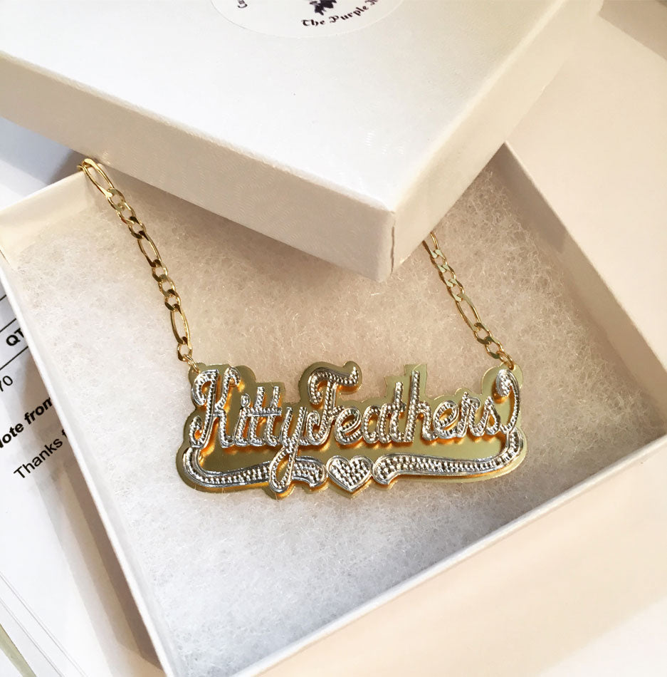 Double Plated Nameplate Necklace 8