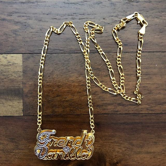 Two Name Double Plated Nameplate Necklace 2