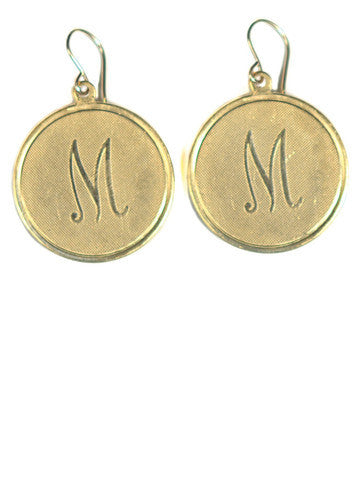 Medium Vintage Initial Charm Earrings