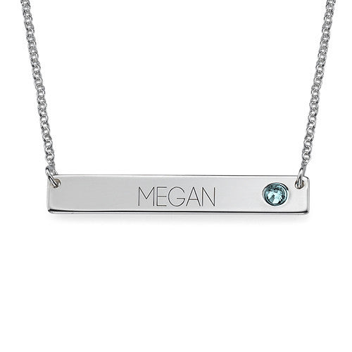 Personalized Sterling Silver Bar Necklace - Birthstone