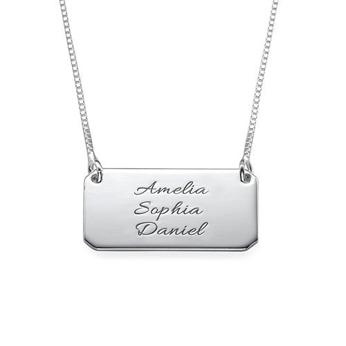 Engraved Silver Bar Necklace - up to 3 names