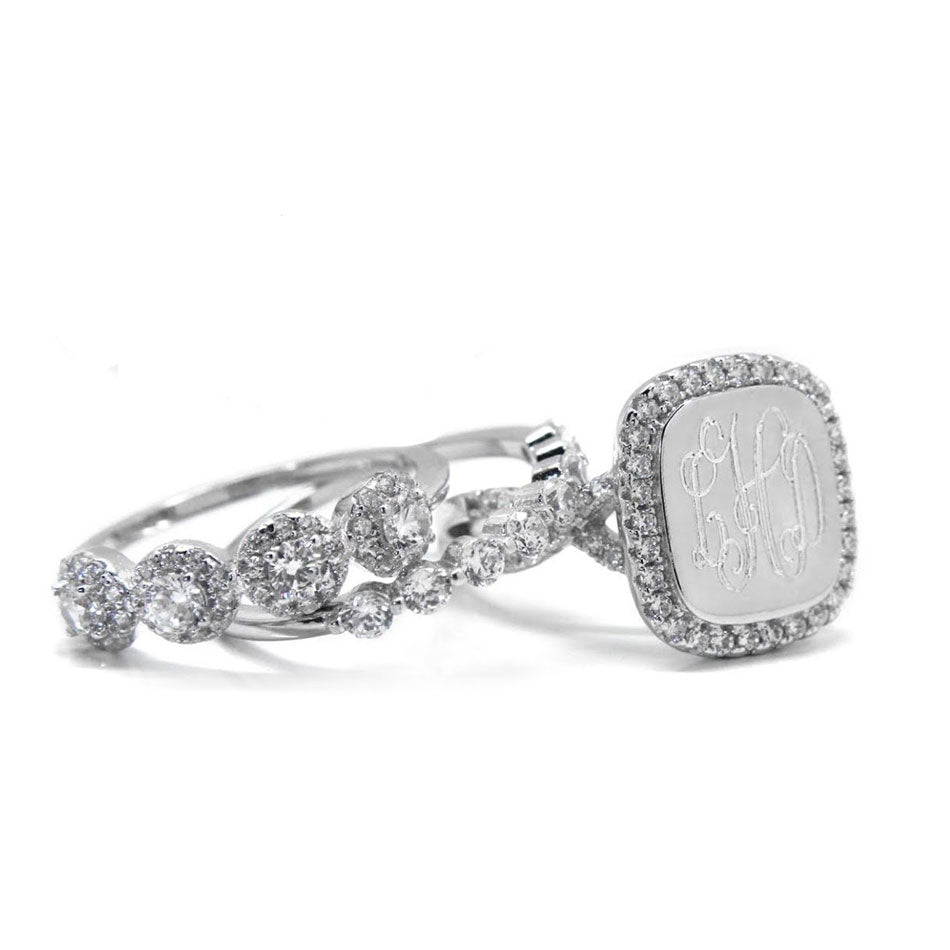 Sterling Silver Fancy CZ Monogram Stacking Ring - Square 2