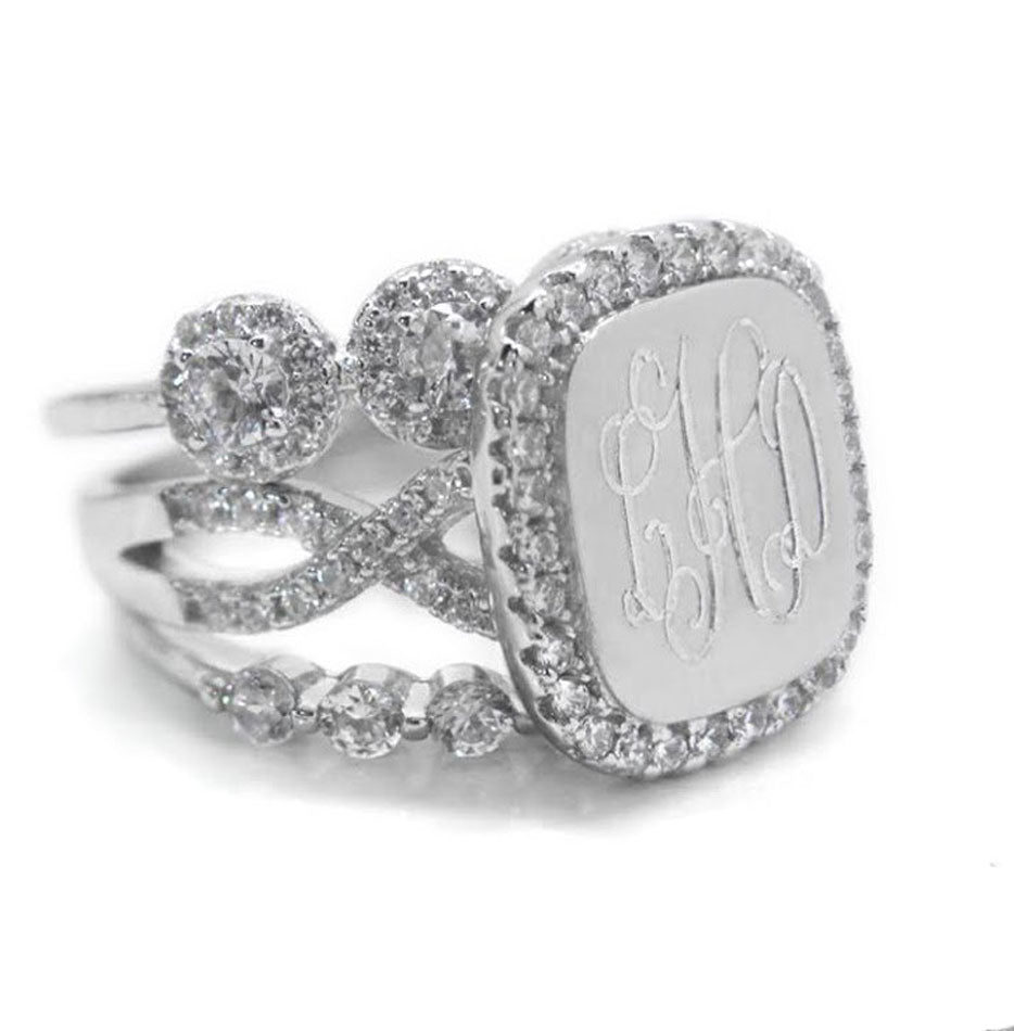 Sterling Silver Fancy CZ Monogram Stacking Ring - Square