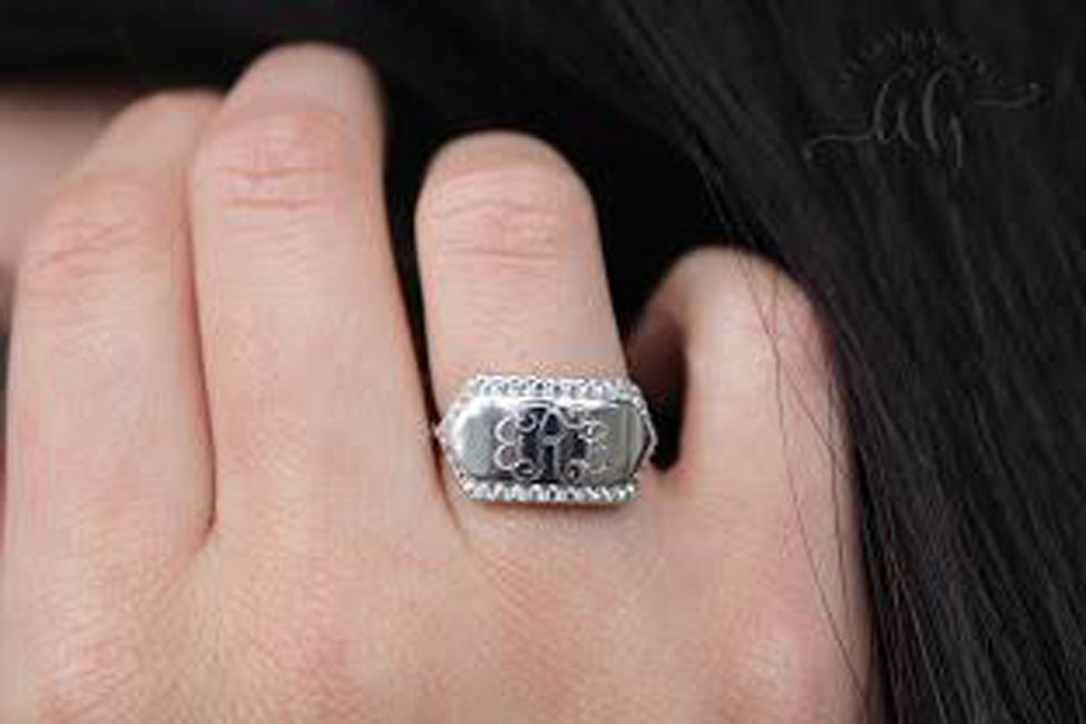 CZ Rimmed Engraved Bar Ring