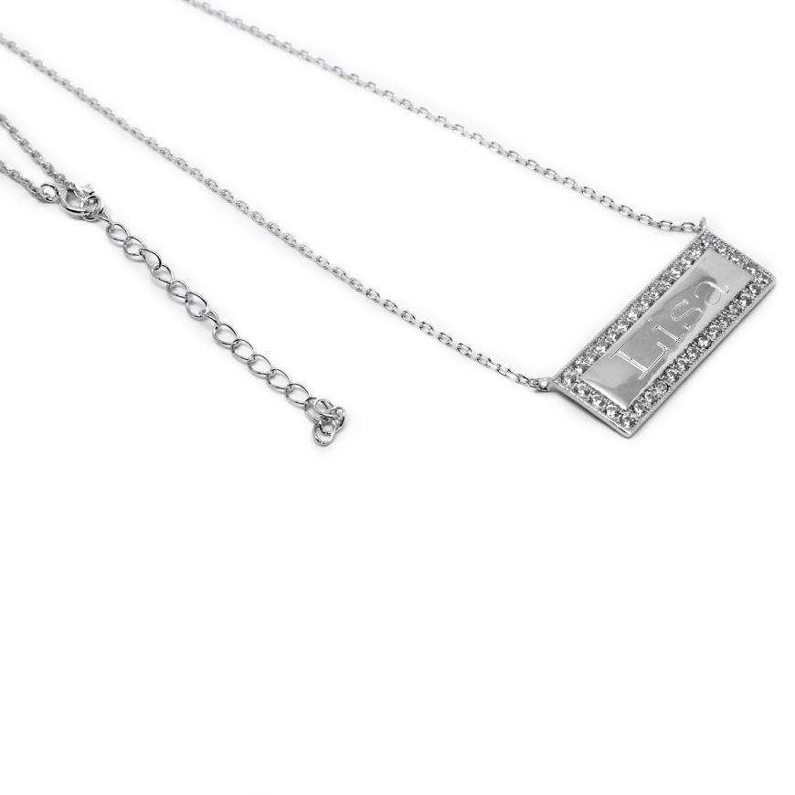 CZ Rimmed Engraved Bar Necklace 4
