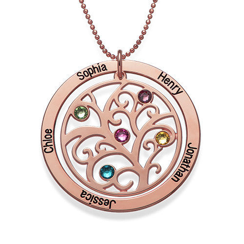 Personalized Rose Gold Family Tree Birthstone Necklace 2