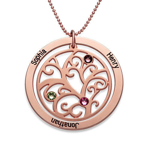 Personalized Rose Gold Family Tree Birthstone Necklace