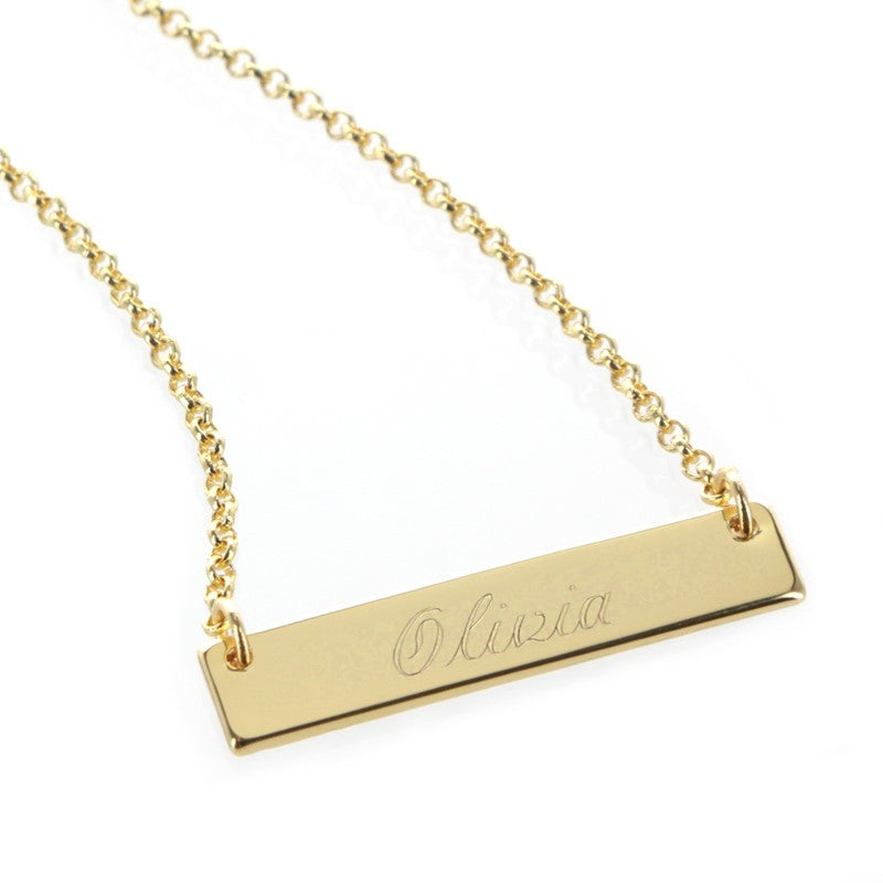 Personalized Gold Plated Horizontal Bar Necklace
