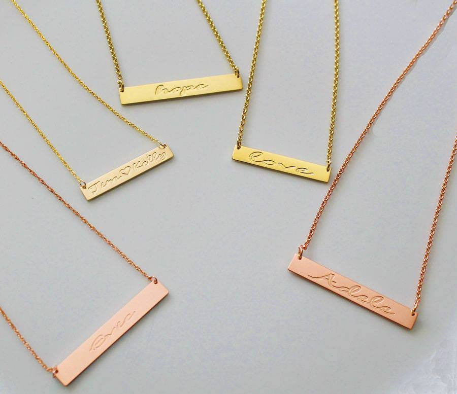 gold vermeil / rose gold vermeil bar necklaces - script font