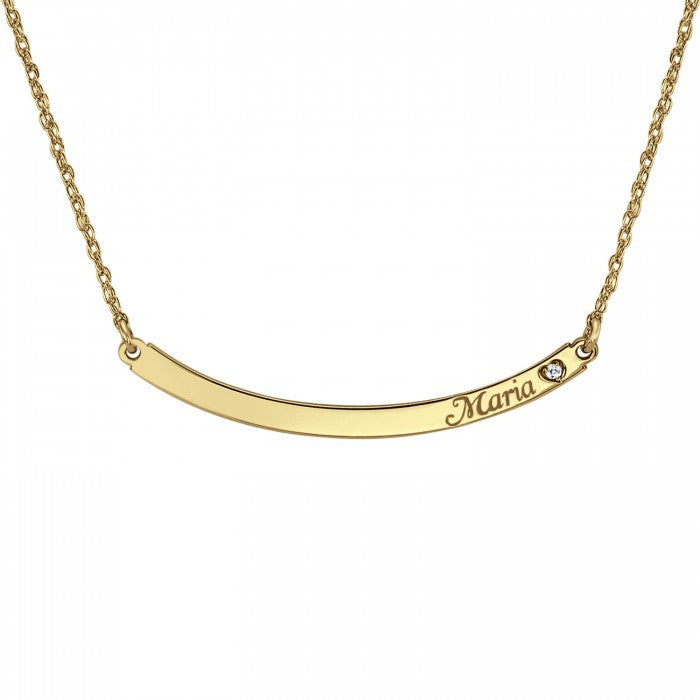 Personalized Curved Bar Necklace with Diamond