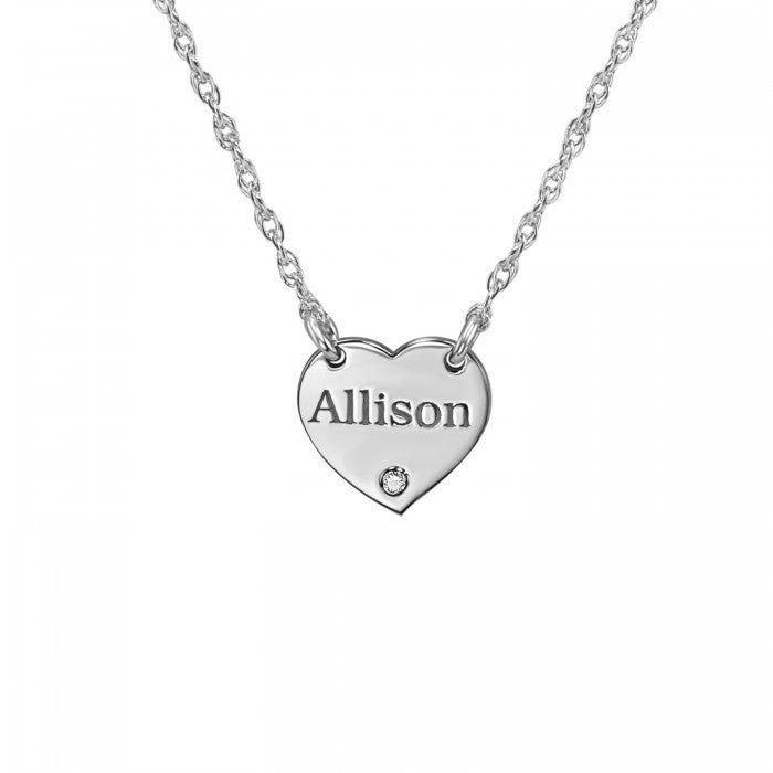 Engraved Mini Heart Necklace with Diamond 2