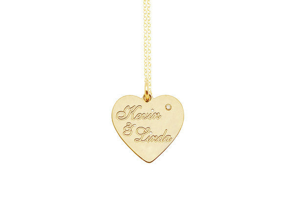 Engraved Heart Necklace with CZ