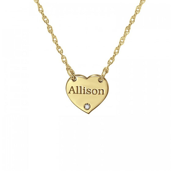 Engraved Mini Heart Necklace with Diamond