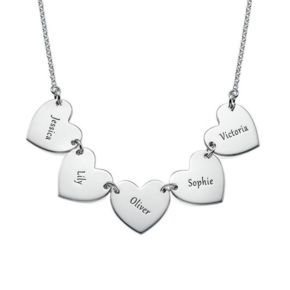 Engraved Hearts Mothers Necklace - 3 to 5 discs alt