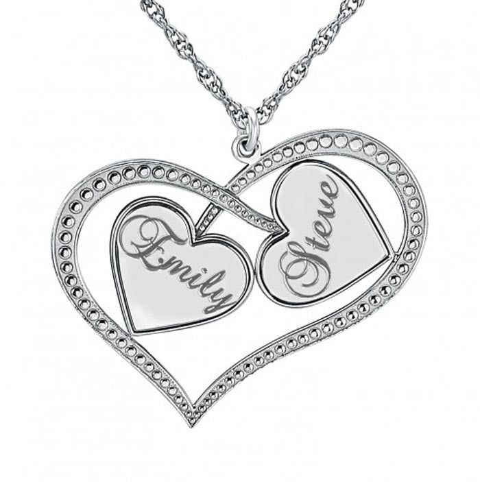 Personalized Interlocking Hearts Necklace 2