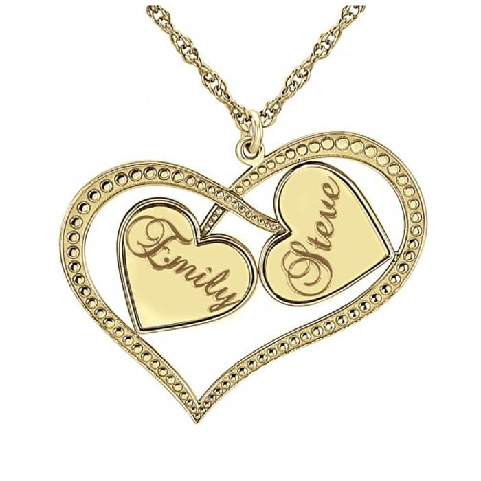 Personalized Interlocking Hearts Necklace