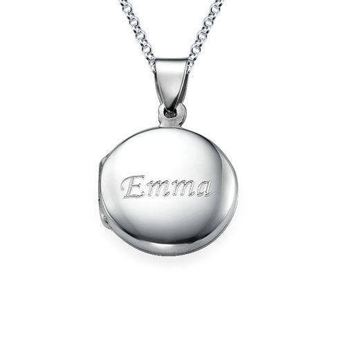 Personalized Round Sterling Silver Locket Necklace