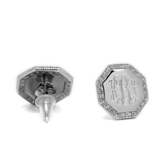 Silver CZ Monogram Earrings