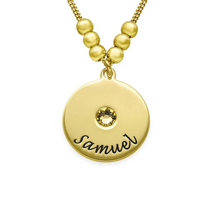 Engraved Disc and Birthstone Mothers Necklace with Beads 2