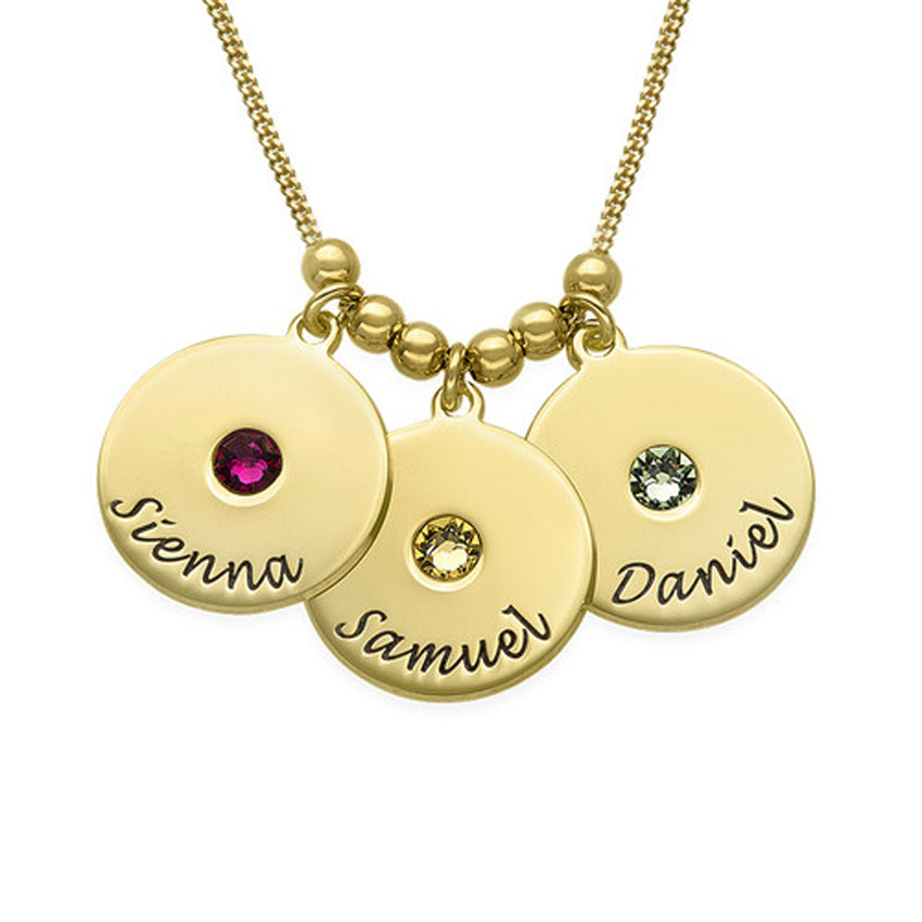 Engraved Disc and Birthstone Mothers Necklace with Beads