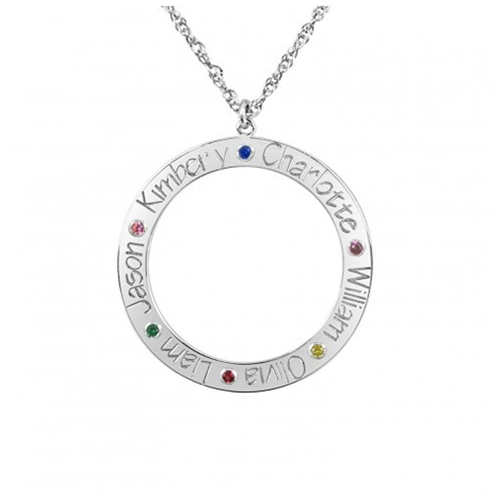 Personalized Family Loop Necklace with Birthstones 2