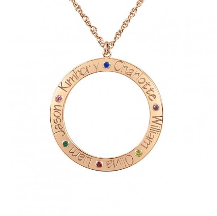 Personalized Family Loop Necklace with Birthstones - rose gold