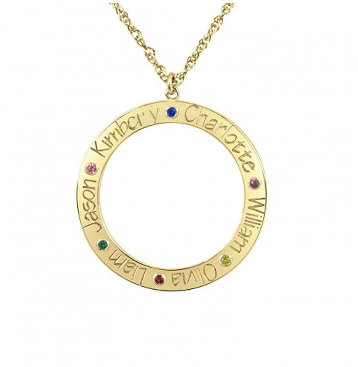 Personalized Family Loop Necklace with Birthstones
