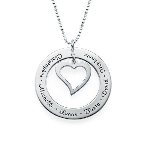 Personalized Family Necklace with Heart